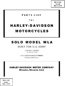 Parts List for HD Solo Model WLA – TM 10-1482