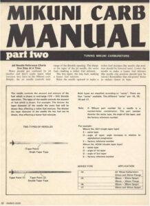 Mikuni Carburator Manual
