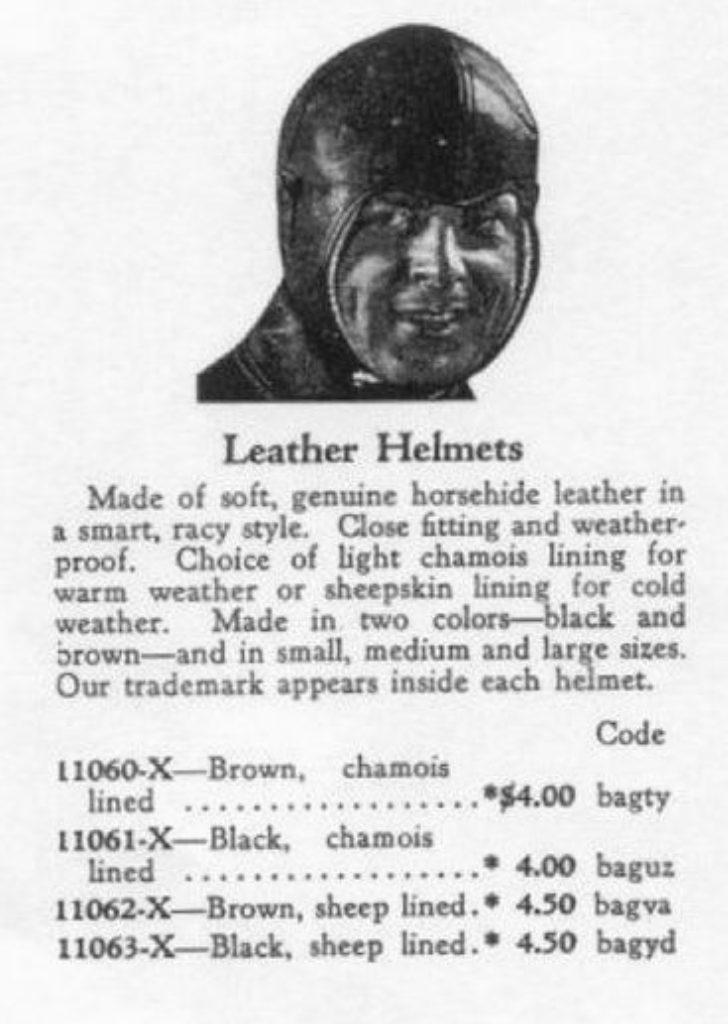 """Rudimentario """"casco"""" de 1929"""