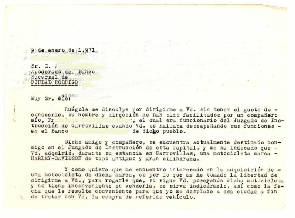 Primera carta al último propietario (anverso)