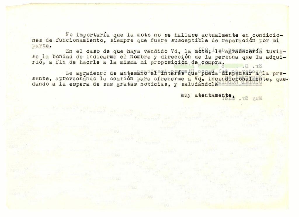 Primera carta al último propietario (reverso)