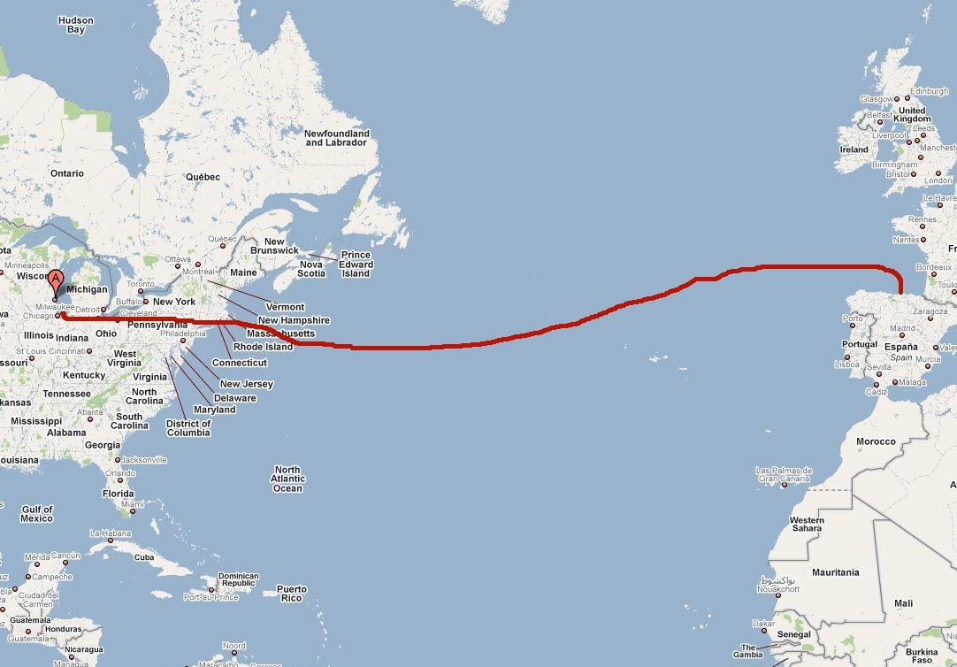 Ruta probable: Milwaukee - algún puerto de EE.UU - Bilbao
