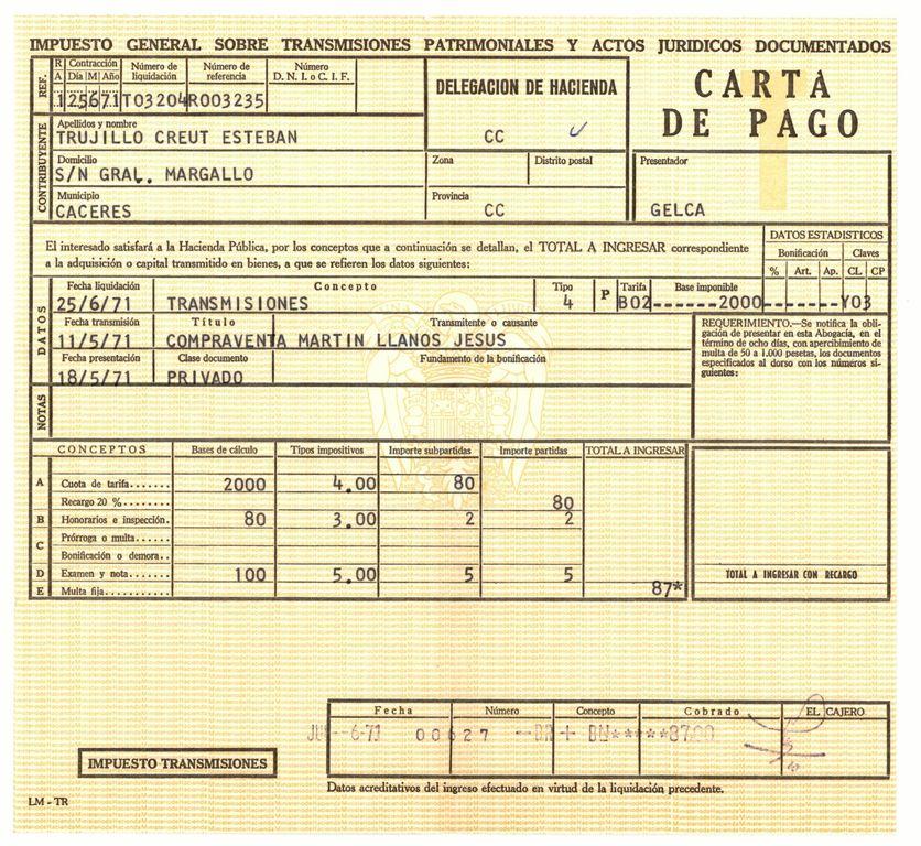 1971 - Carta de Pago en la compraventa
