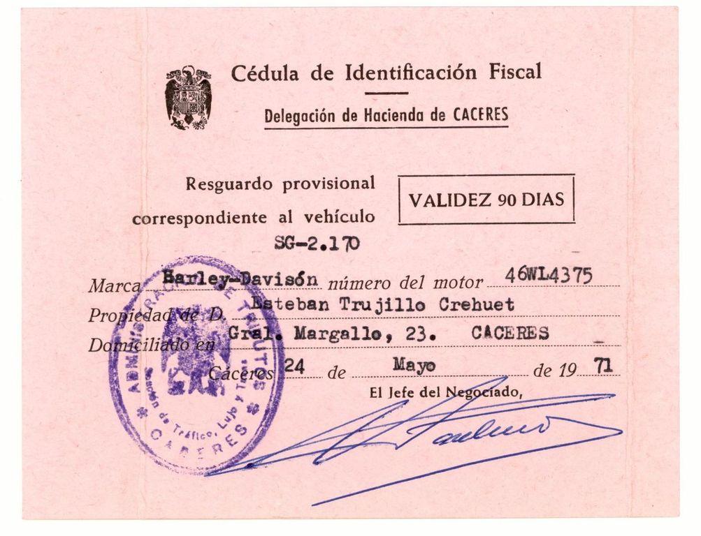 1971 - Cédula de Identificación Fiscal provisional
