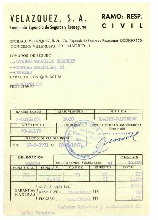 1971 - Certificado de seguro