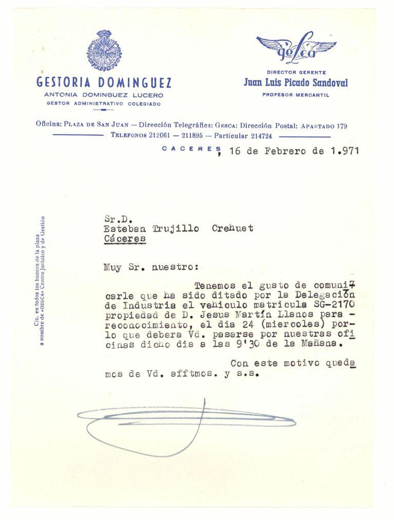 1971 - Parece ser la primera relación con la Admón: una citación de Industria para reconocimiento