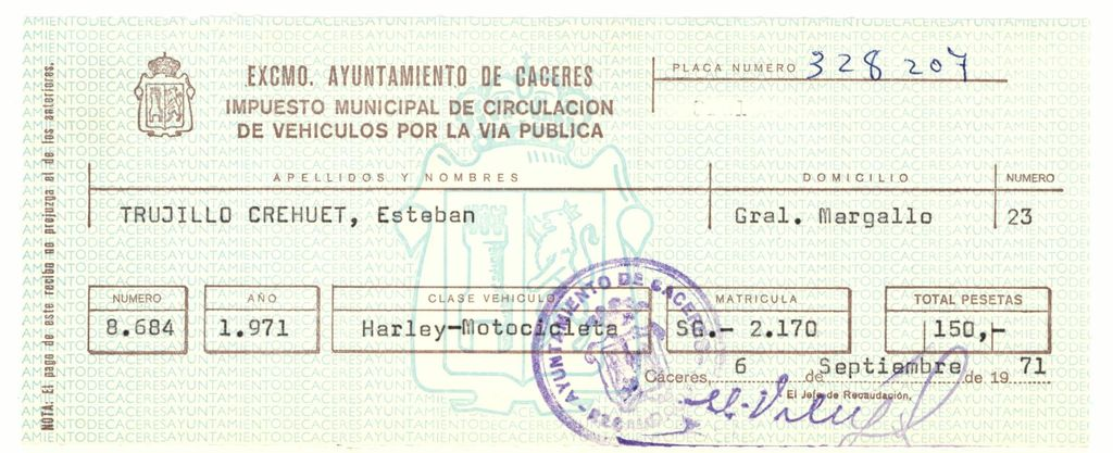 1971 - Impuesto municipal de circulación en Cáceres