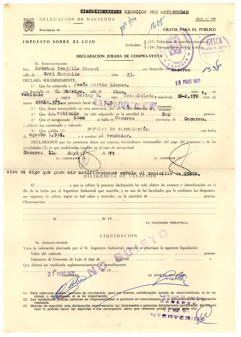 1971 - Impuesto sobre el lujo. Exento por antigüedad