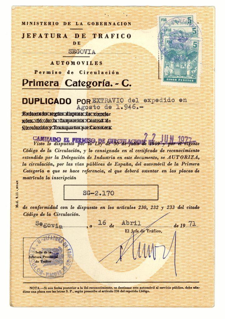 1971 - El permiso original se extravió. Tráfico procede a la expedición de un duplicado