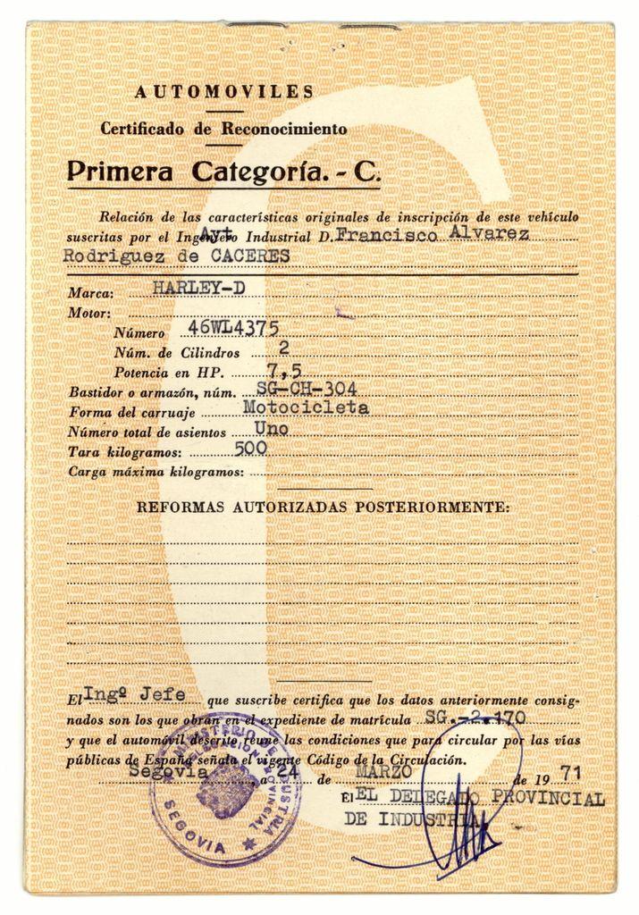 1971 - Otra página del permiso. El dato de la tara no es correcto, la moto pesa realmente 240 Kg.