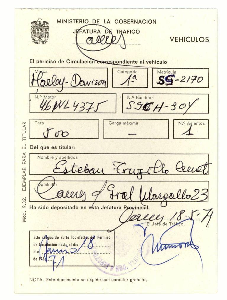 1971 - Permiso de circulación provisional.