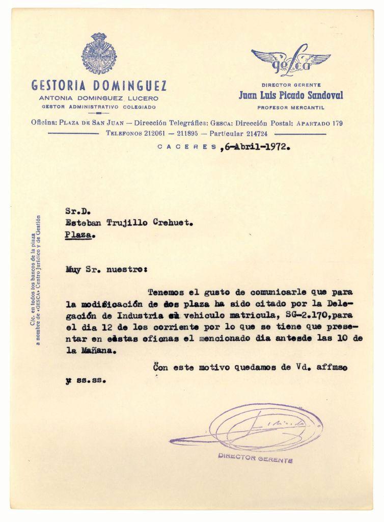 1972 - Citación de Industria para legalizar las dos plazas