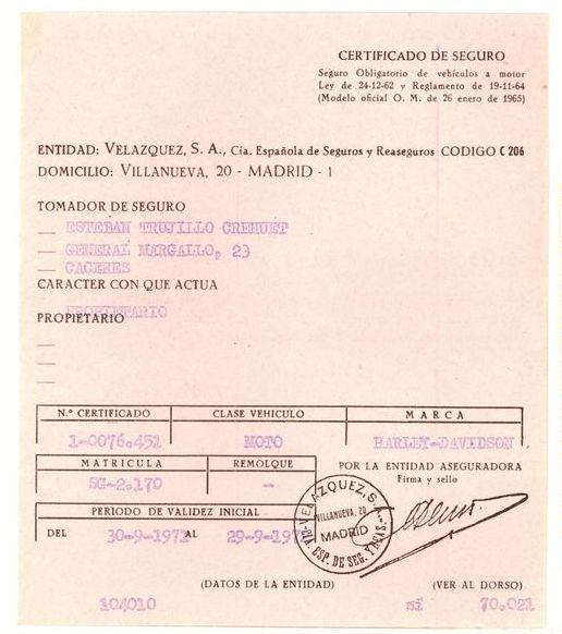 1972 - Certificado de seguro