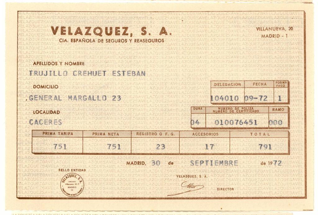 1972 - Recibo de seguro