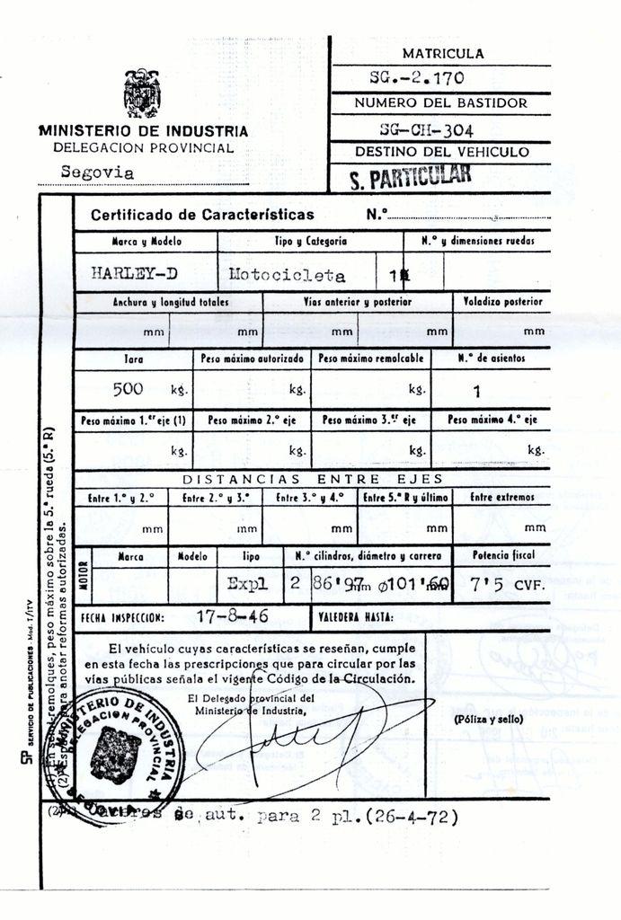 1972 - Tarjeta de Inspección Técnica