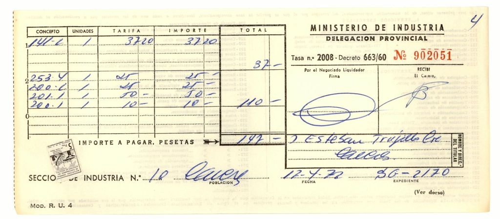 1972 - Tasas de Industria
