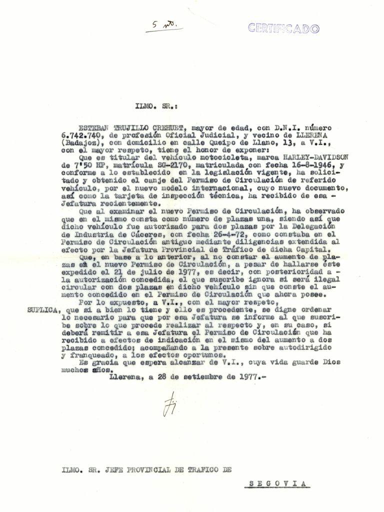 1977 - Carta solicitando legalizar las dos plazas