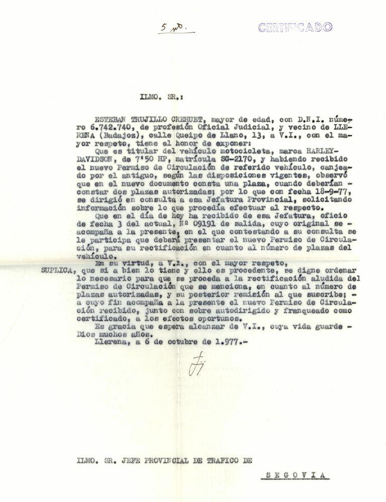1977 - Carta similar a la anterior
