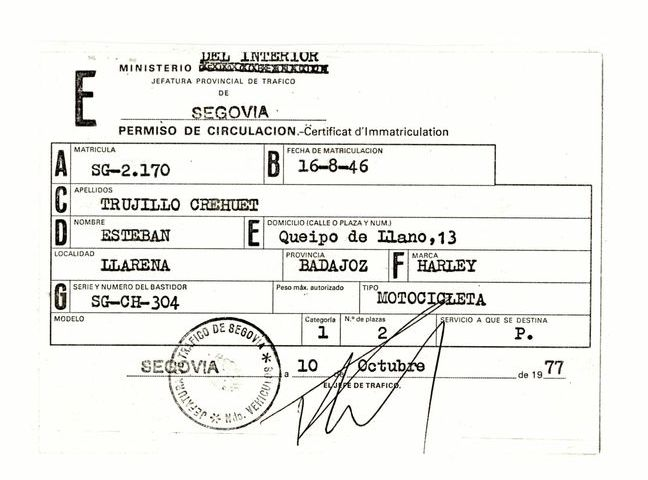 1977 - Permiso de circulación