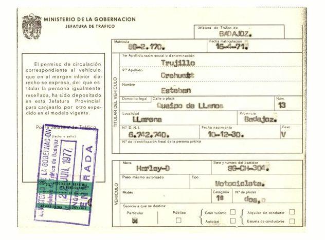 1977 - Permiso de circulación provisional