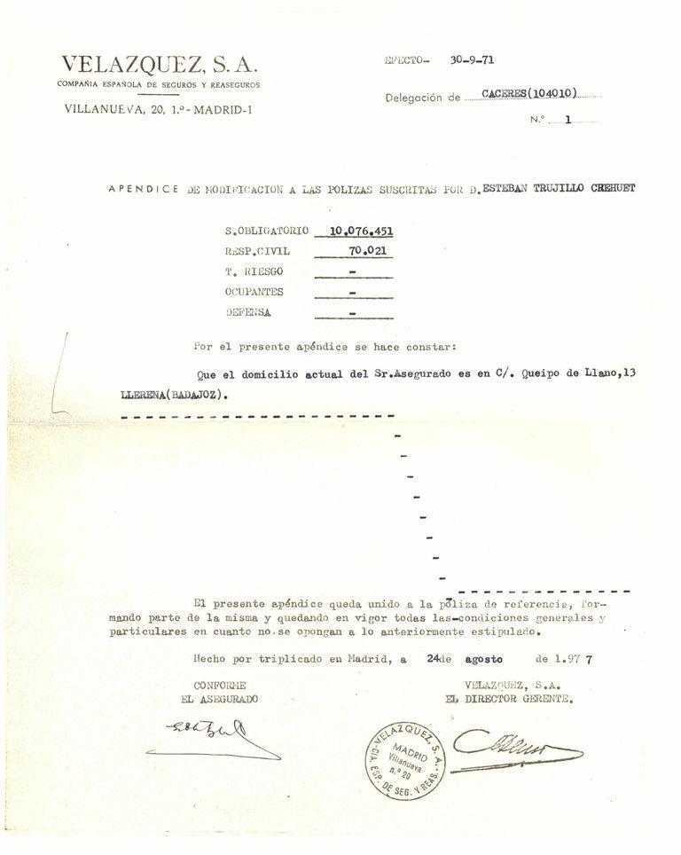 1977 - Póliza de seguro