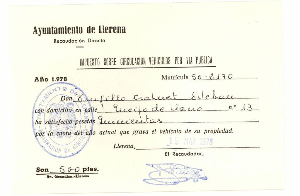 1978 - Impuesto de Circulación en Llerena (Badajoz)