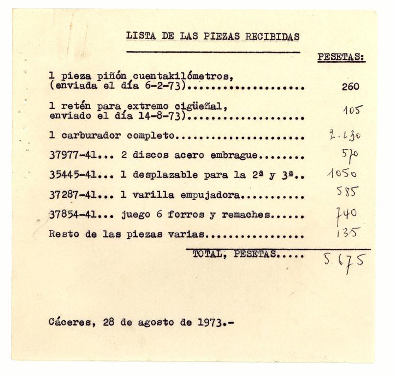 Ago-1973: Piezas recibidas