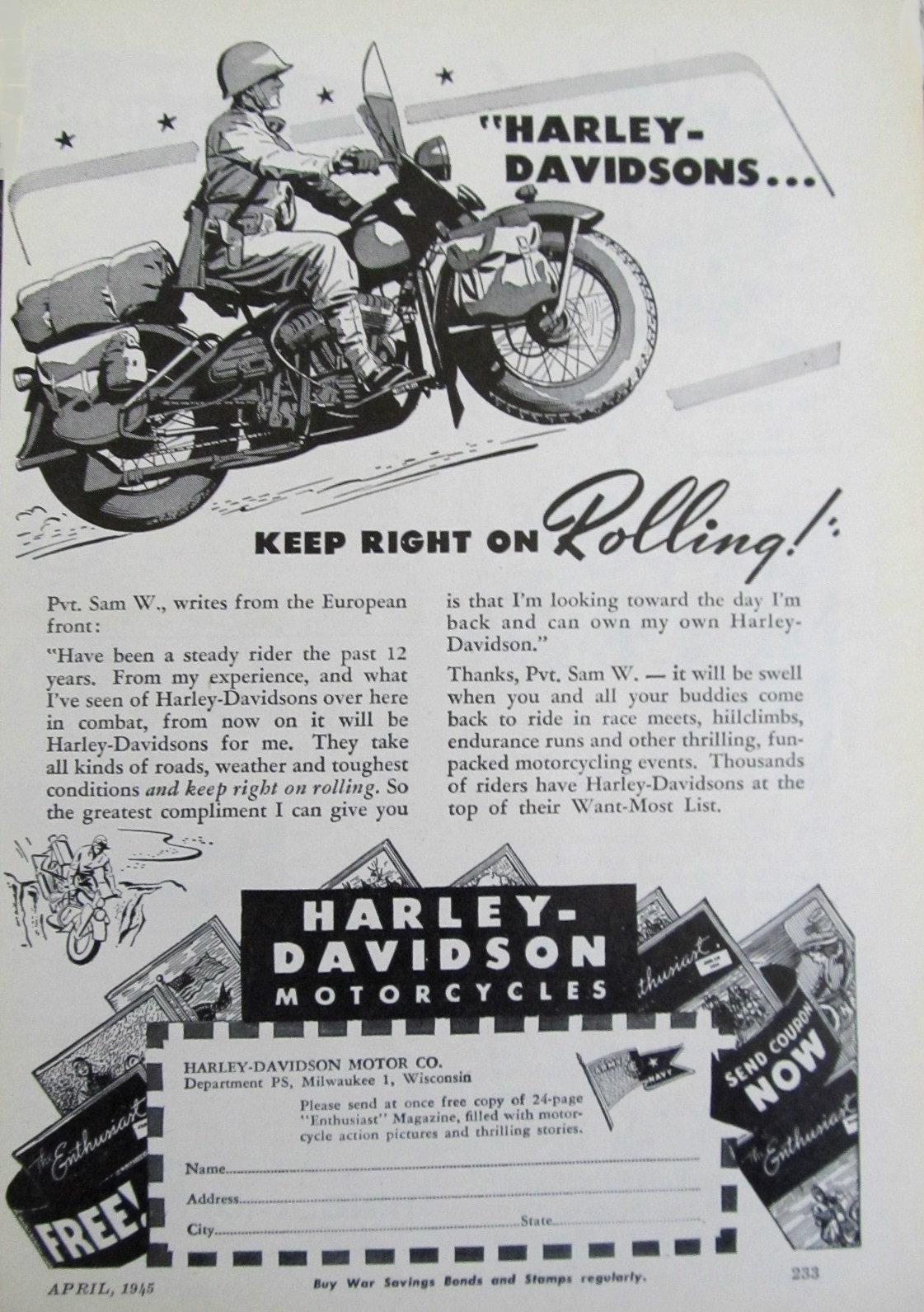 Harley-Davidson keep right on rolling