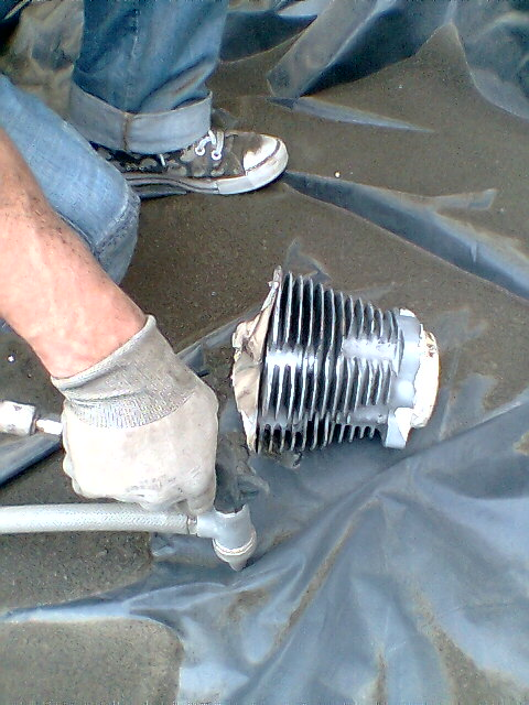 Limpieza cilindro con chorro de arena