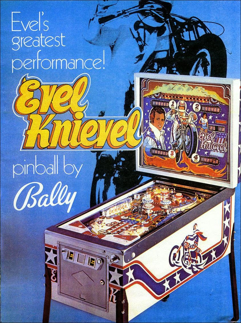 Publicidad de pinball Evel Knievel