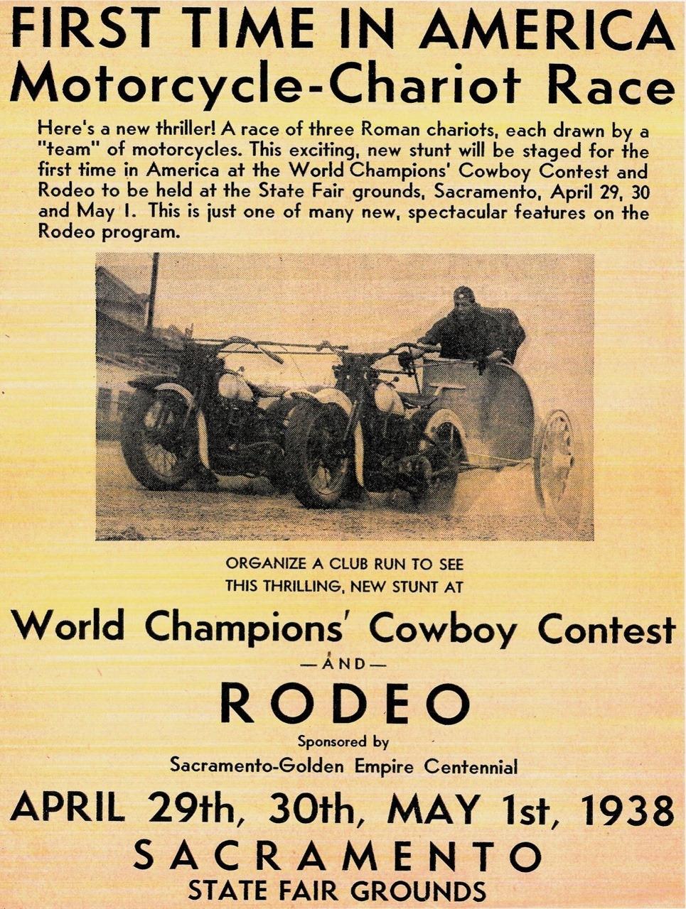 Rodeo de cuádrigas celebrado en Sacramento (EE.UU.) en 1938