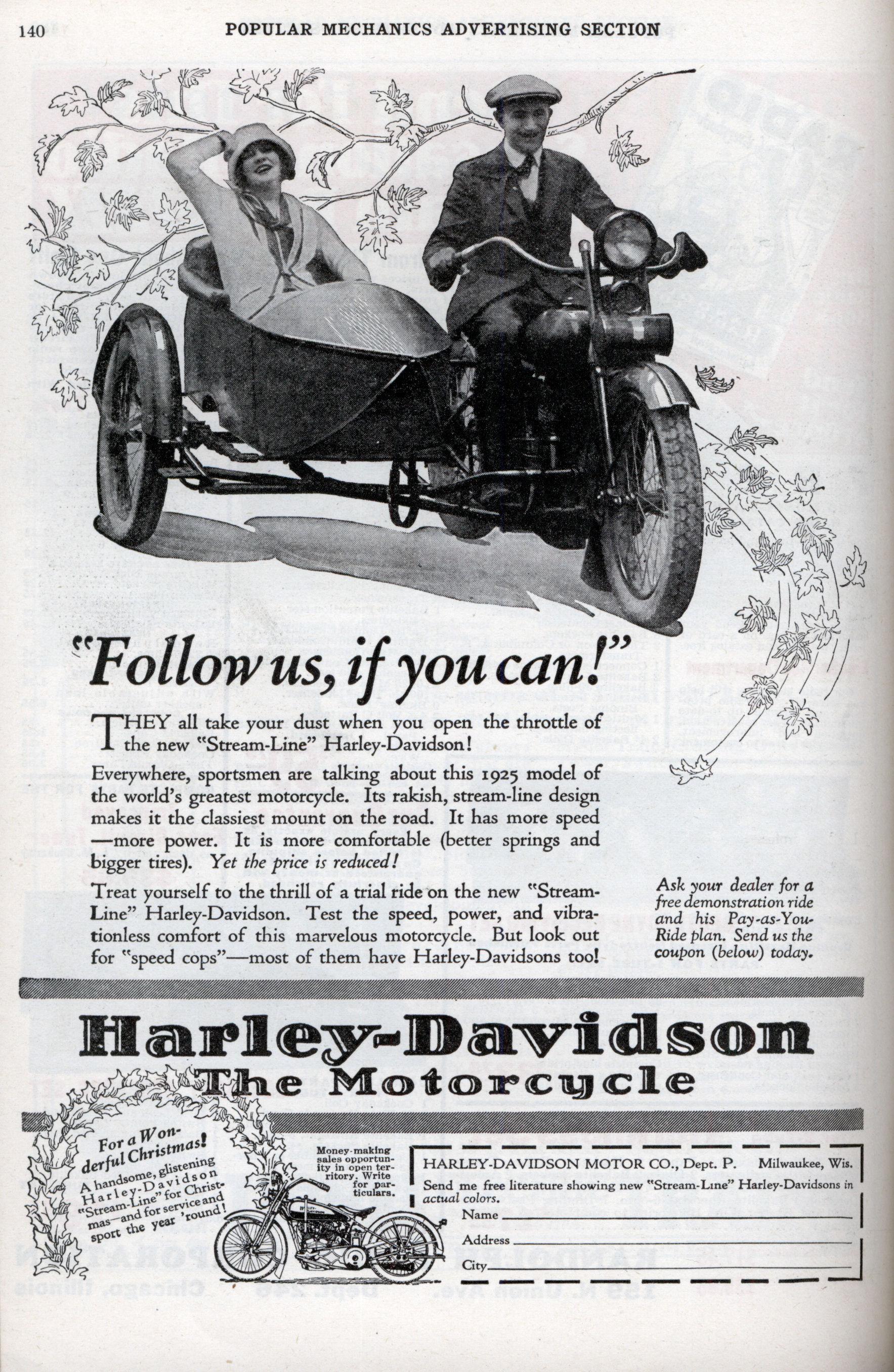 Anuncio en prensa de Harley-Davidson en 1925