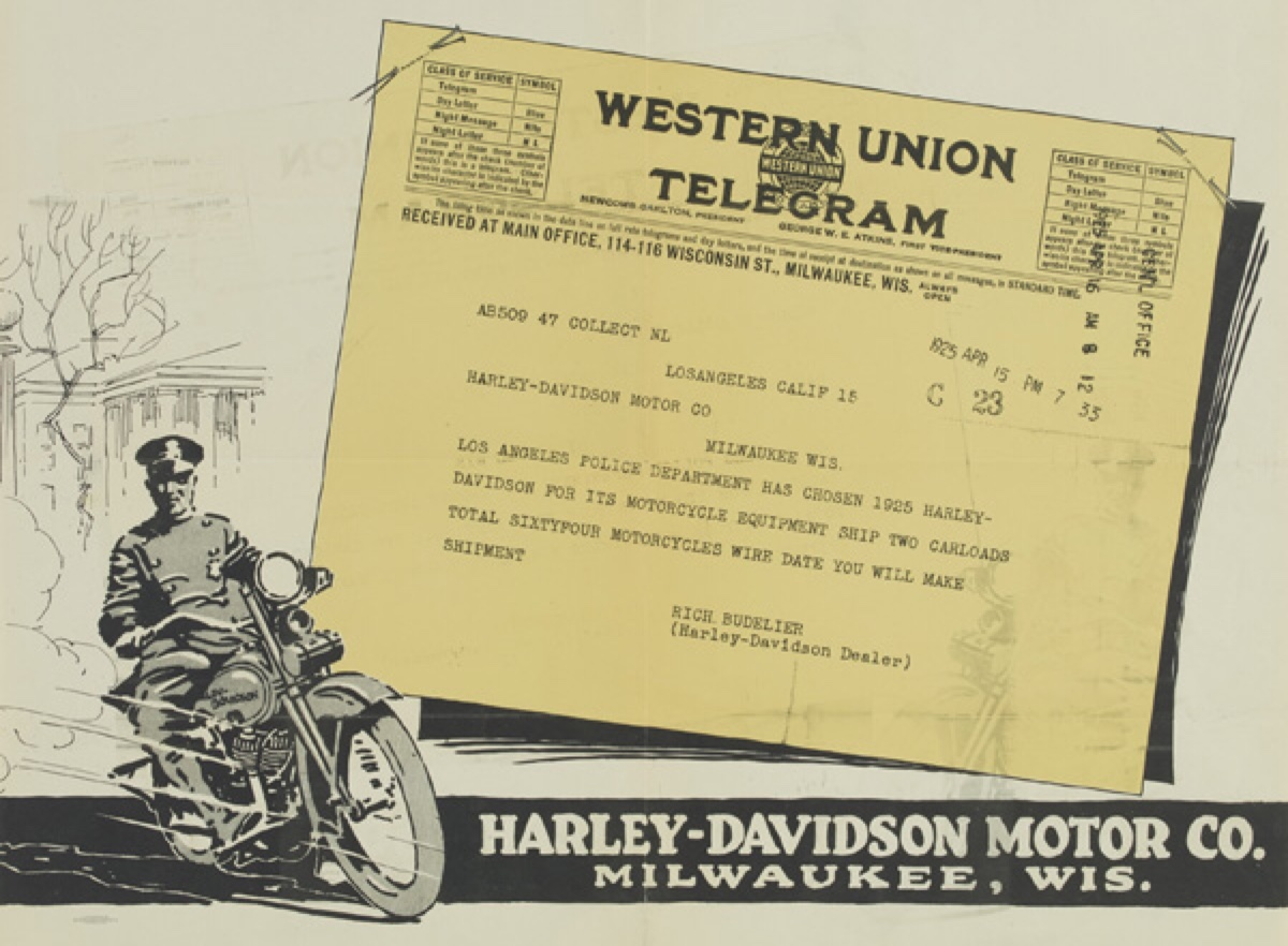 Telegrama unidades para la Policia de 1925