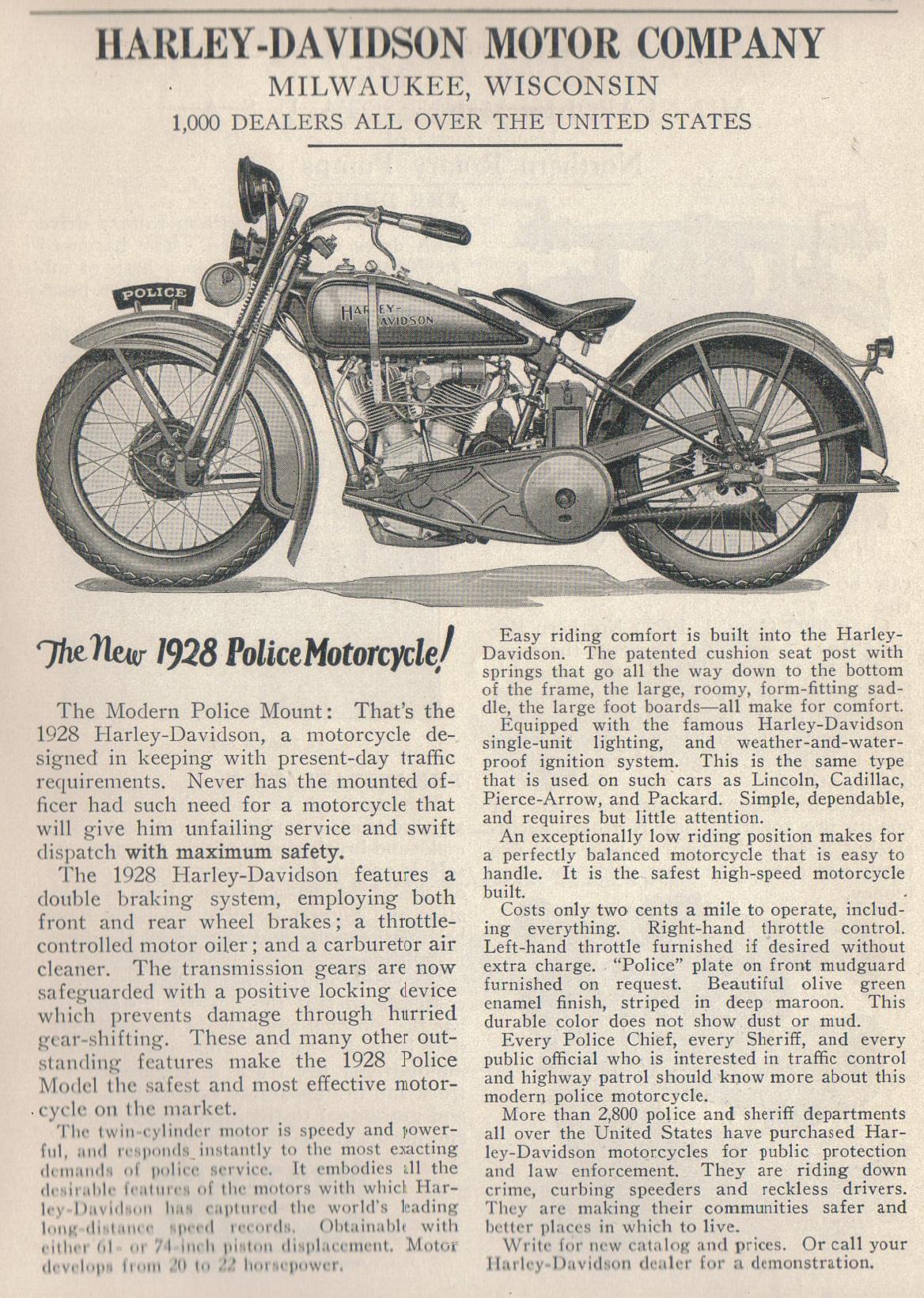 Folleto modelos policía para 1928