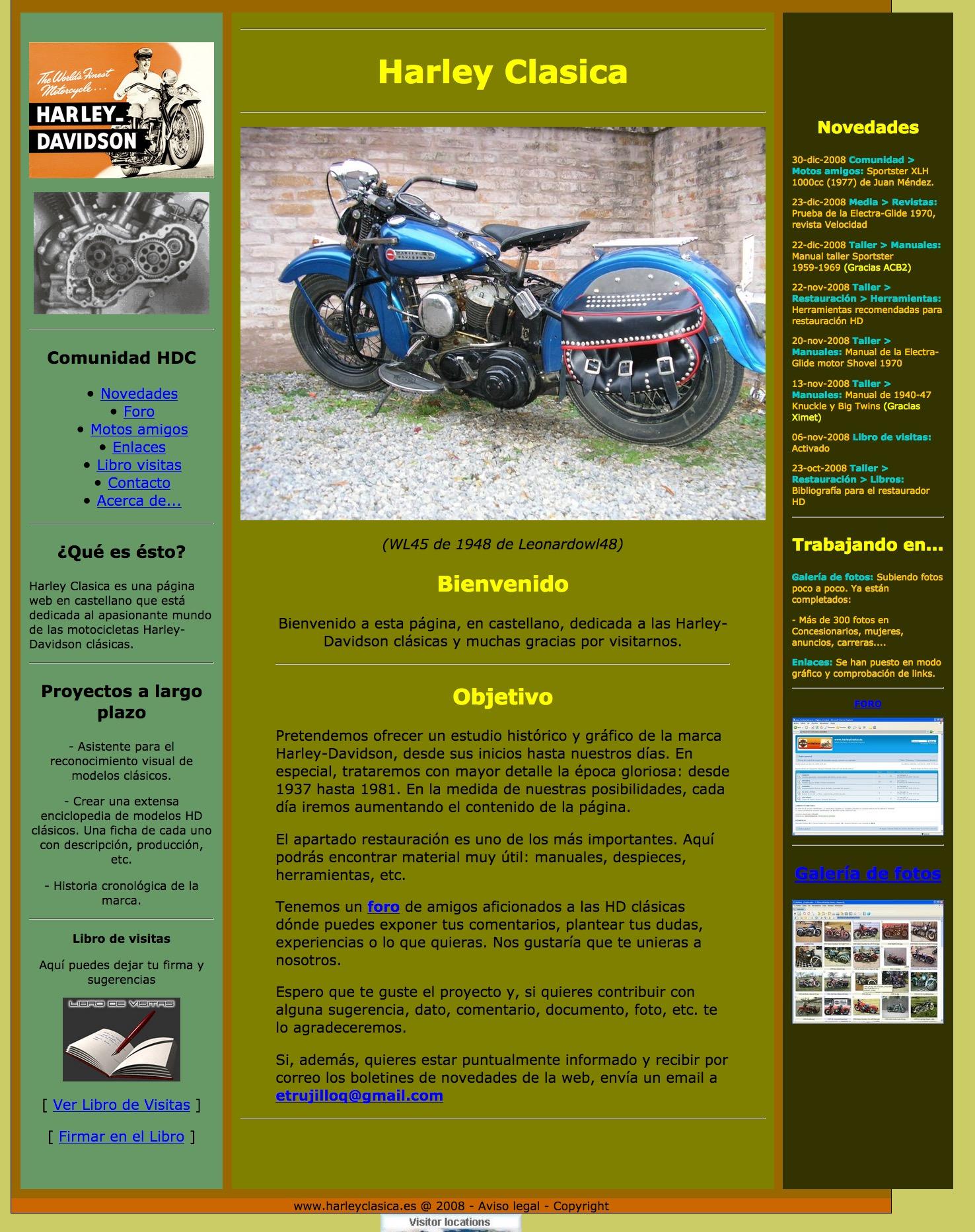 """La web """"harleyclasica"""" en el año 2008"""
