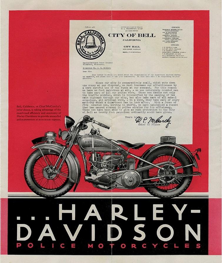 Carta de Jefe de Policía sobre Harley-Davidson