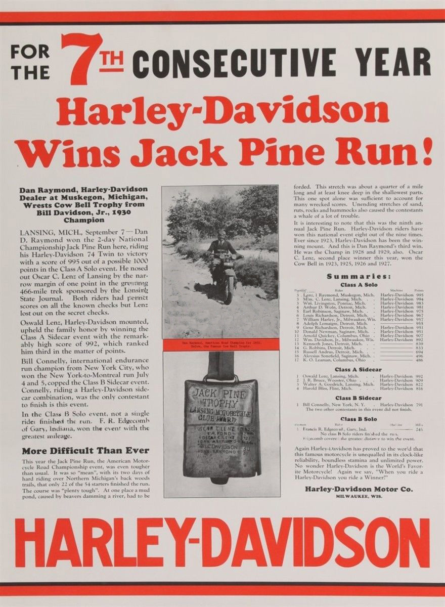 Harley-Davidson ganador en Jack Pine Run