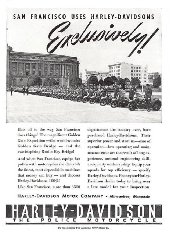 San Francisco uses Harley-Davidson