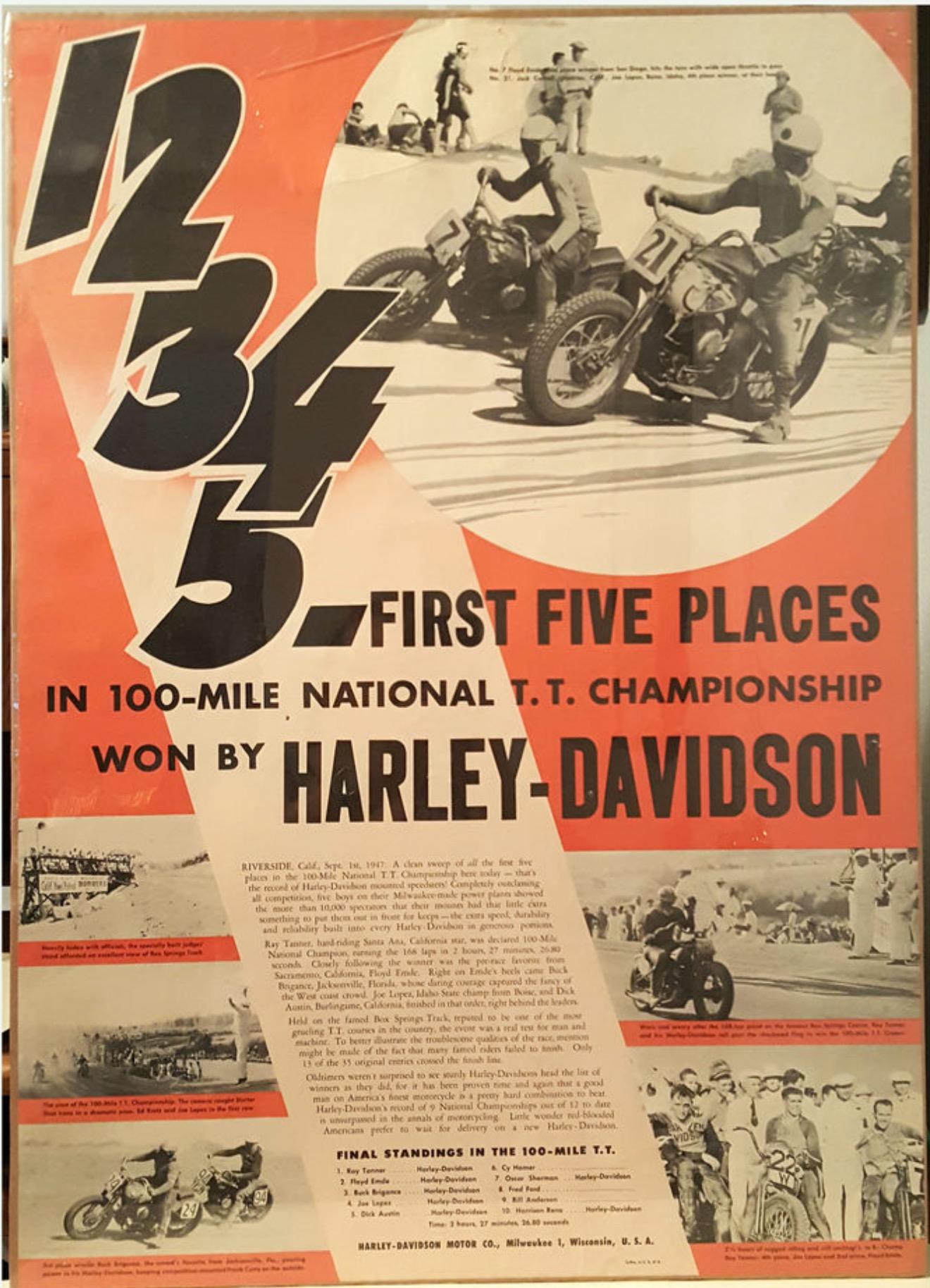"""Cinco primeros puestos para Harley-Davidson en las """"100 Mile National T.T."""""""