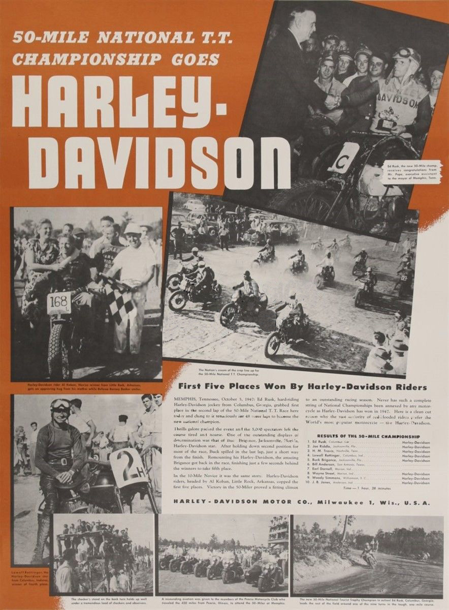 "Harley-Davidson gana las ""50 Mile National T.T."""