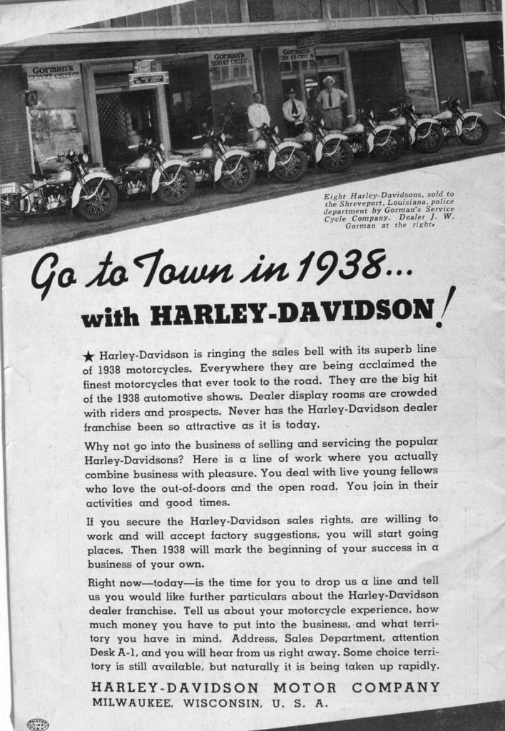 in 1938 with Harley-Davidson