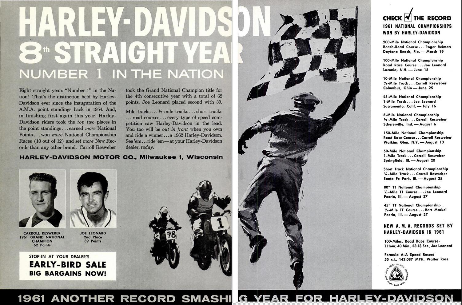 1962 - Harley-Davidson - 8 straight year