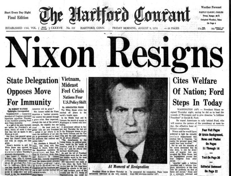 Nixon dimite por el Watergate