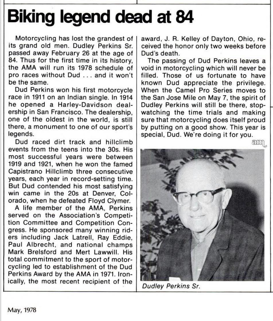 Reseña de la muerte de Dudley Perkins