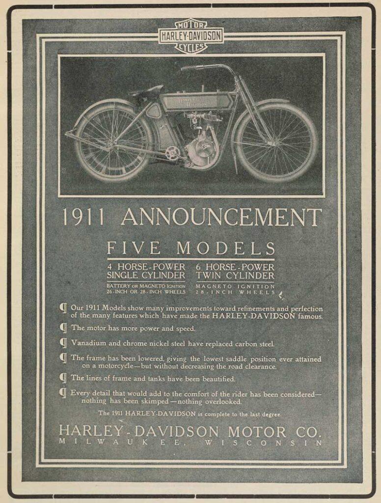 1911 - Harley-Davidson Announcement Five Models
