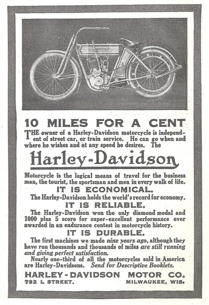 1911 - Harley-Davidson 10 Miles for a cent