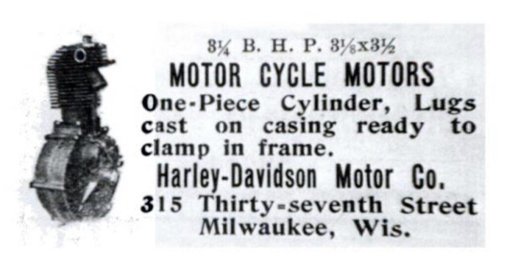1905 primer anuncio de Harley-Davidson