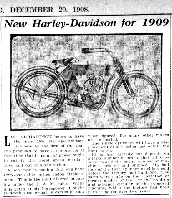 New Harley-Davidson for 1909