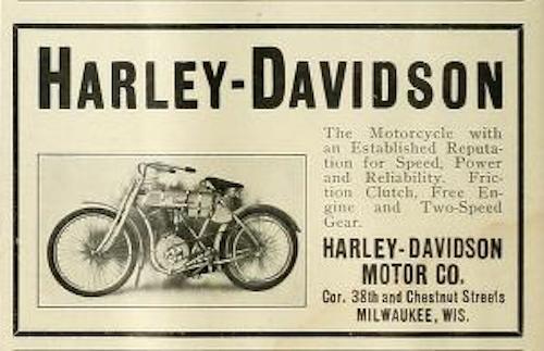 1908 - Harley-Davidson promoción de la época