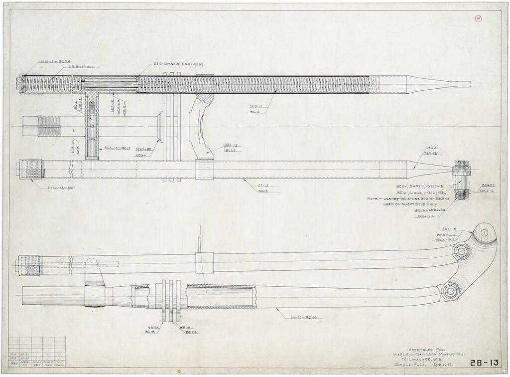1912 - Diseño del montaje de la horquilla delantera